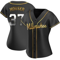 Adrian Houser Milwaukee Brewers Women's Replica Alternate Jersey - Black Golden