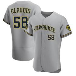 Alex Claudio Milwaukee Brewers Men's Authentic Road Jersey - Gray
