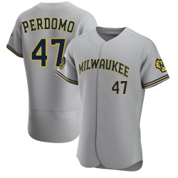 Angel Perdomo Milwaukee Brewers Men's Authentic Road Jersey - Gray