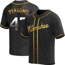 Angel Perdomo Milwaukee Brewers Men's Replica Alternate Jersey - Black Golden