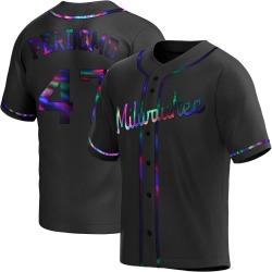 Angel Perdomo Milwaukee Brewers Men's Replica Alternate Jersey - Black Holographic