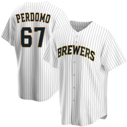 Angel Perdomo Milwaukee Brewers Men's Replica Home Jersey - White
