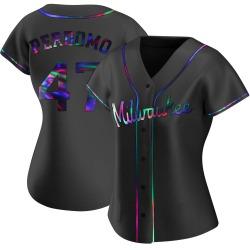 Angel Perdomo Milwaukee Brewers Women's Replica Alternate Jersey - Black Holographic