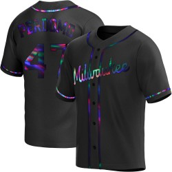 Angel Perdomo Milwaukee Brewers Youth Replica Alternate Jersey - Black Holographic