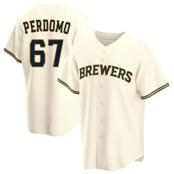 Angel Perdomo Milwaukee Brewers Youth Replica Home Jersey - Cream