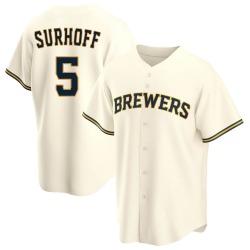 Bj Surhoff Milwaukee Brewers Men's Replica Home Jersey - Cream