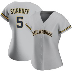 Bj Surhoff Milwaukee Brewers Women's Replica Road Jersey - Gray