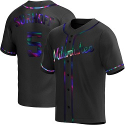 Bj Surhoff Milwaukee Brewers Youth Replica Alternate Jersey - Black Holographic