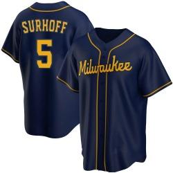 Bj Surhoff Milwaukee Brewers Youth Replica Alternate Jersey - Navy