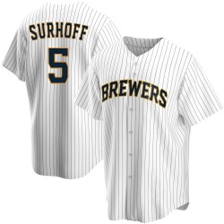Bj Surhoff Milwaukee Brewers Youth Replica Home Jersey - White