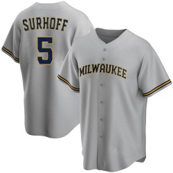 Bj Surhoff Milwaukee Brewers Youth Replica Road Jersey - Gray