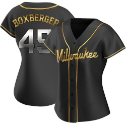 Brad Boxberger Milwaukee Brewers Women's Replica Alternate Jersey - Black Golden