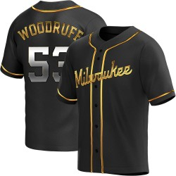 Brandon Woodruff Milwaukee Brewers Men's Replica Alternate Jersey - Black Golden