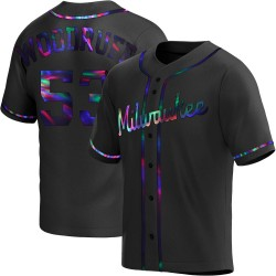 Brandon Woodruff Milwaukee Brewers Men's Replica Alternate Jersey - Black Holographic