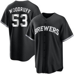 Brandon Woodruff Milwaukee Brewers Men's Replica Black/ Jersey - White