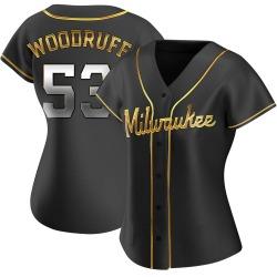 Brandon Woodruff Milwaukee Brewers Women's Replica Alternate Jersey - Black Golden