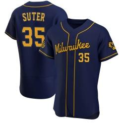 Brent Suter Milwaukee Brewers Men's Authentic Alternate Jersey - Navy