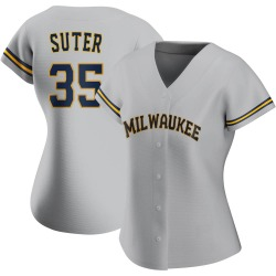 Brent Suter Milwaukee Brewers Women's Authentic Road Jersey - Gray