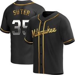 Brent Suter Milwaukee Brewers Youth Replica Alternate Jersey - Black Golden