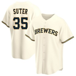 Brent Suter Milwaukee Brewers Youth Replica Home Jersey - Cream
