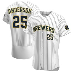 Brett Anderson Milwaukee Brewers Men's Authentic Alternate Jersey - White