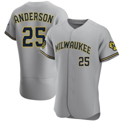 Brett Anderson Milwaukee Brewers Men's Authentic Road Jersey - Gray
