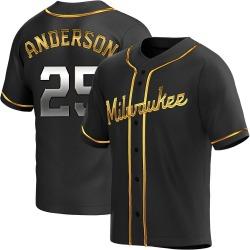 Brett Anderson Milwaukee Brewers Men's Replica Alternate Jersey - Black Golden