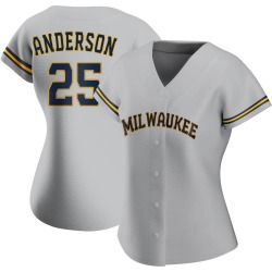 Brett Anderson Milwaukee Brewers Women's Authentic Road Jersey - Gray