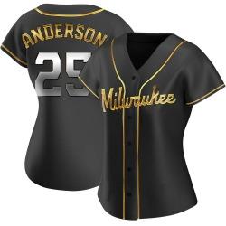 Brett Anderson Milwaukee Brewers Women's Replica Alternate Jersey - Black Golden