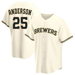 Brett Anderson Milwaukee Brewers Youth Replica Home Jersey - Cream