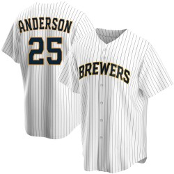 Brett Anderson Milwaukee Brewers Youth Replica Home Jersey - White