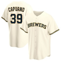 Chris Capuano Milwaukee Brewers Men's Replica Home Jersey - Cream