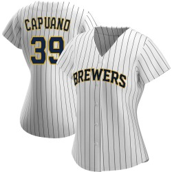 Chris Capuano Milwaukee Brewers Women's Authentic /Navy Alternate Jersey - White