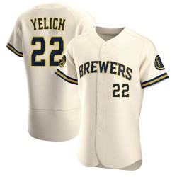 Christian Yelich Milwaukee Brewers Men's Authentic Home Jersey - Cream