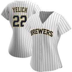Christian Yelich Milwaukee Brewers Women's Replica /Navy Alternate Jersey - White