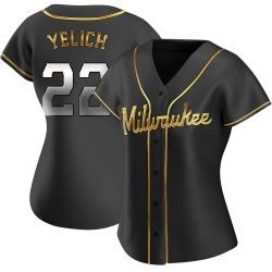 Christian Yelich Milwaukee Brewers Women's Replica Alternate Jersey - Black Golden