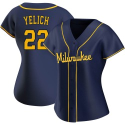Christian Yelich Milwaukee Brewers Women's Replica Alternate Jersey - Navy