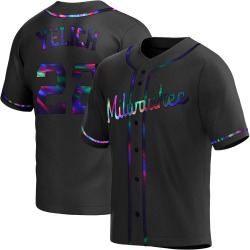 Christian Yelich Milwaukee Brewers Youth Replica Alternate Jersey - Black Holographic