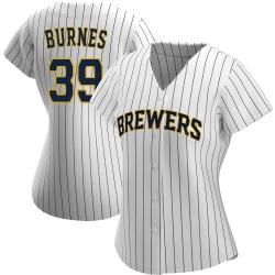 Corbin Burnes Milwaukee Brewers Women's Authentic /Navy Alternate Jersey - White