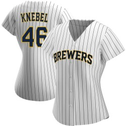 Corey Knebel Milwaukee Brewers Women's Authentic /Navy Alternate Jersey - White