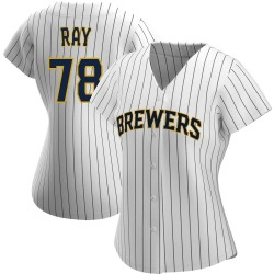 Corey Ray Milwaukee Brewers Women's Authentic /Navy Alternate Jersey - White