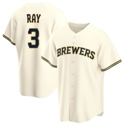 Corey Ray Milwaukee Brewers Youth Replica Home Jersey - Cream