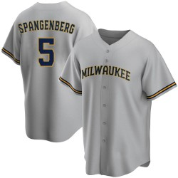 Cory Spangenberg Milwaukee Brewers Men's Replica Road Jersey - Gray