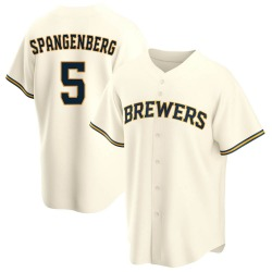 Cory Spangenberg Milwaukee Brewers Youth Replica Home Jersey - Cream