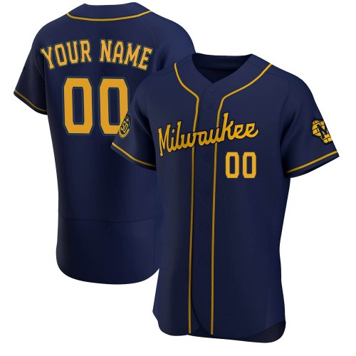 Custom Milwaukee Brewers Men's Authentic Alternate Jersey - Navy