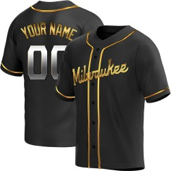Custom Milwaukee Brewers Men's Replica Alternate Jersey - Black Golden