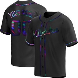 Custom Milwaukee Brewers Men's Replica Alternate Jersey - Black Holographic