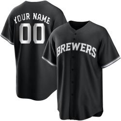 Custom Milwaukee Brewers Men's Replica Black/ Jersey - White