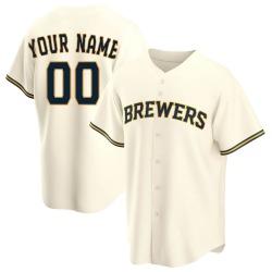 Custom Milwaukee Brewers Men's Replica Home Jersey - Cream