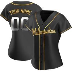 Custom Milwaukee Brewers Women's Replica Alternate Jersey - Black Golden